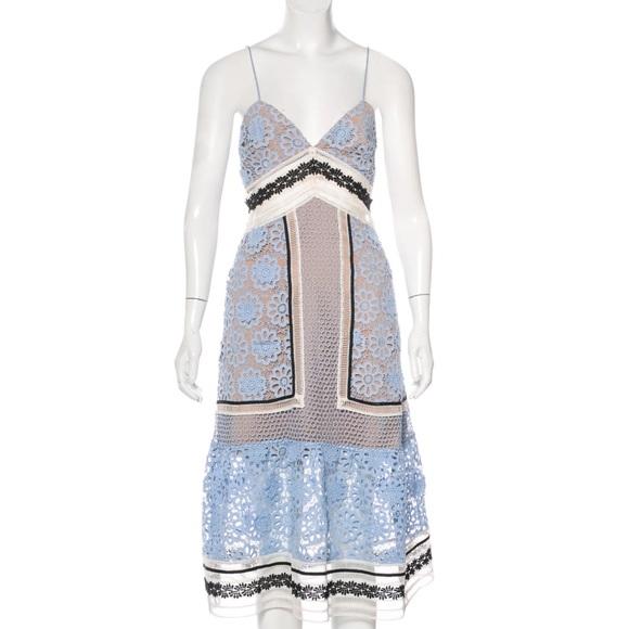 Self-Portrait Dresses & Skirts - Self-Portrait Pale Blue Lace Midi Dress